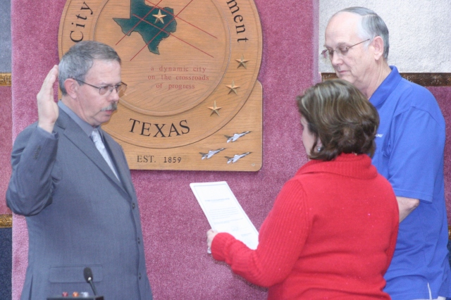 Councilman Steve Ott is sworn in at last nights White Settlement City Council meeting.