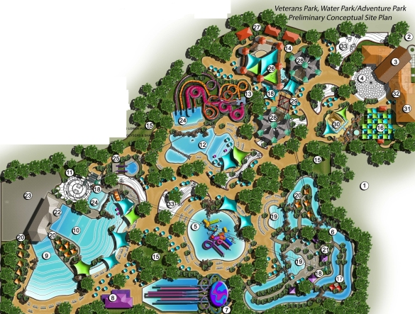 Preliminary Conceptual Site Plan for Veterans Park Hawaiian Falls Waterpark and Adventure Park
