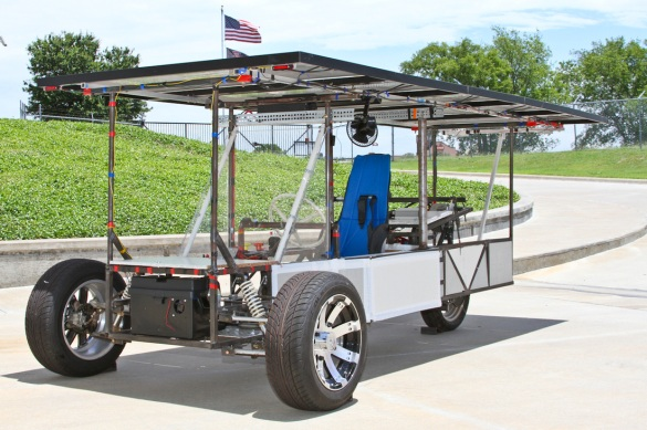 With solar panels on top, this car built by All Saints Episcopal School students can travel up to 35 mph.