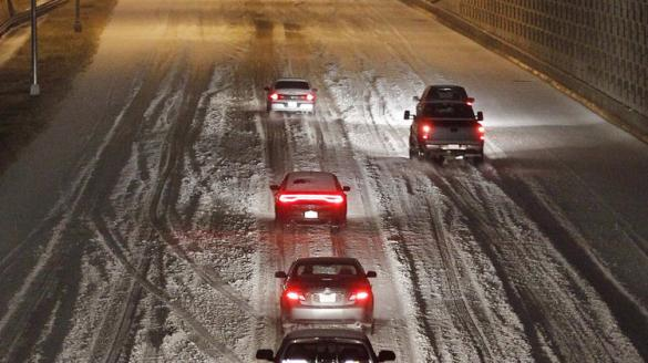 Icy conditions slow traffic.