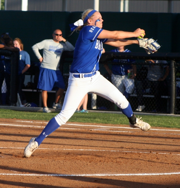 Pitching for the Lady Bears is critical during the playoffs. Photo by A.C. Hall