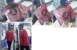 A collage of photographs from the robberies at two convenience stores in White Settlement.