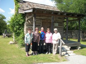 100_0774 Betsy Browder Jean Thomason Frances Allen Price   Sherry Feltner May 2nd 2015 at the WT Allen Log Cabin