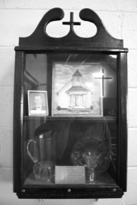 church curio cabinet b&w