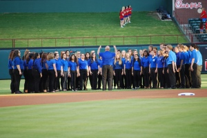 The Brewer High School choir at the Texas Ranger game.