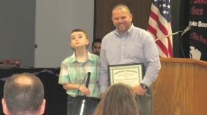 Tannahill Intermediate Principal Randy Summerhill along with student Graham Palmer accepted the 2015 Random Act of Kindness Award on behalf of the student body.