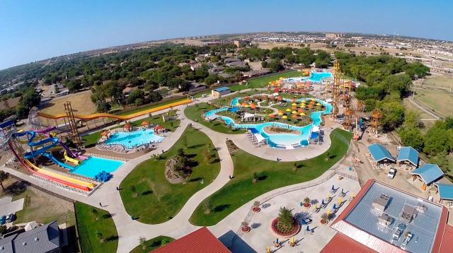 A view of the water park shows slides, a lazy river, a wave pool, a zipline and other park attractions that will be taken over by the City.