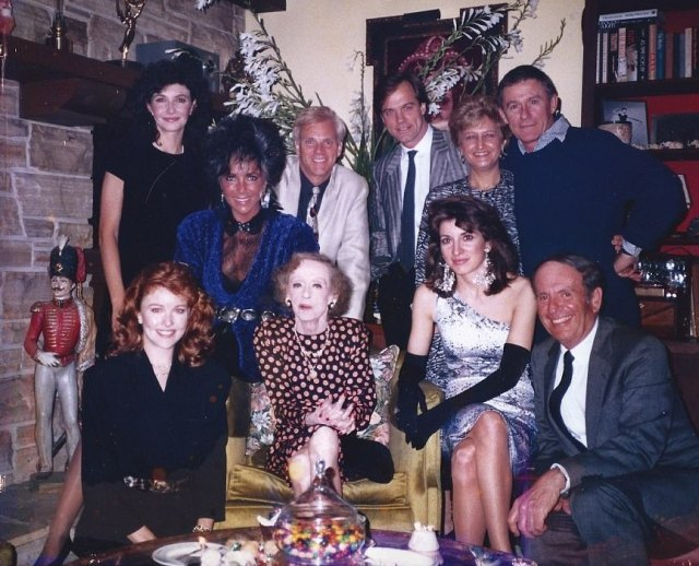 3. Bette Davis, Kathryn to her right, celebrating 87th birthday with friends - provided by Kathryn Sermak