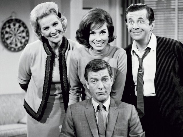 a. With cast of The Dick Van Dyke Show. Credit CBS - Calvada Productions